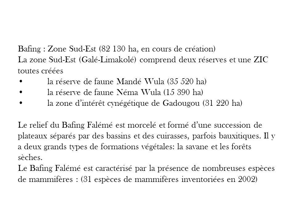 Bafing : Zone Sud-Est (82 130 ha, en cours de création) La zone Sud-Est (Galé-Limakolé) comprend deux réserves et une ZIC toutes crééesla réserve de f