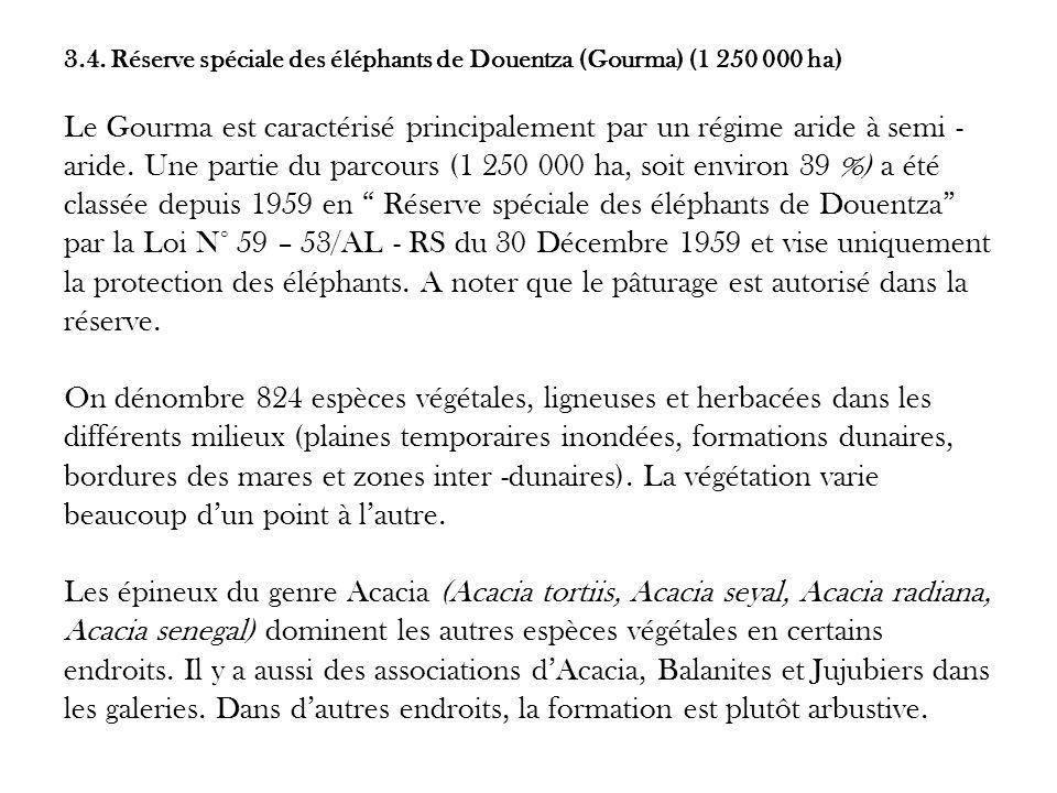 3.4. Réserve spéciale des éléphants de Douentza (Gourma) (1 250 000 ha) Le Gourma est caractérisé principalement par un régime aride à semi - aride. U