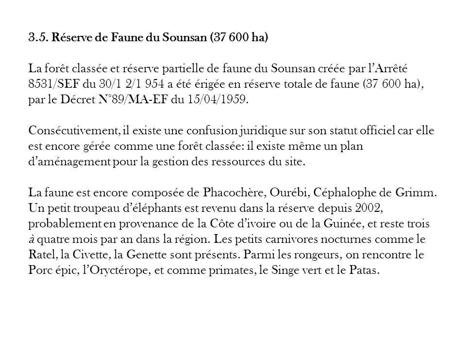 3.5. Réserve de Faune du Sounsan (37 600 ha) La forêt classée et réserve partielle de faune du Sounsan créée par lArrêté 8531/SEF du 30/1 2/1 954 a ét