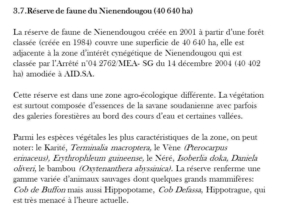 3.7.Réserve de faune du Nienendougou (40 640 ha) La réserve de faune de Nienendougou créée en 2001 à partir dune forêt classée (créée en 1984) couvre