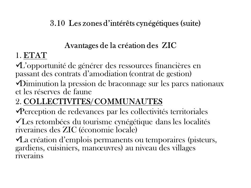 3.10 Les zones dintérêts cynégétiques (suite) Avantages de la création des ZIC 1. ETAT Lopportunité de générer des ressources financières en passant d