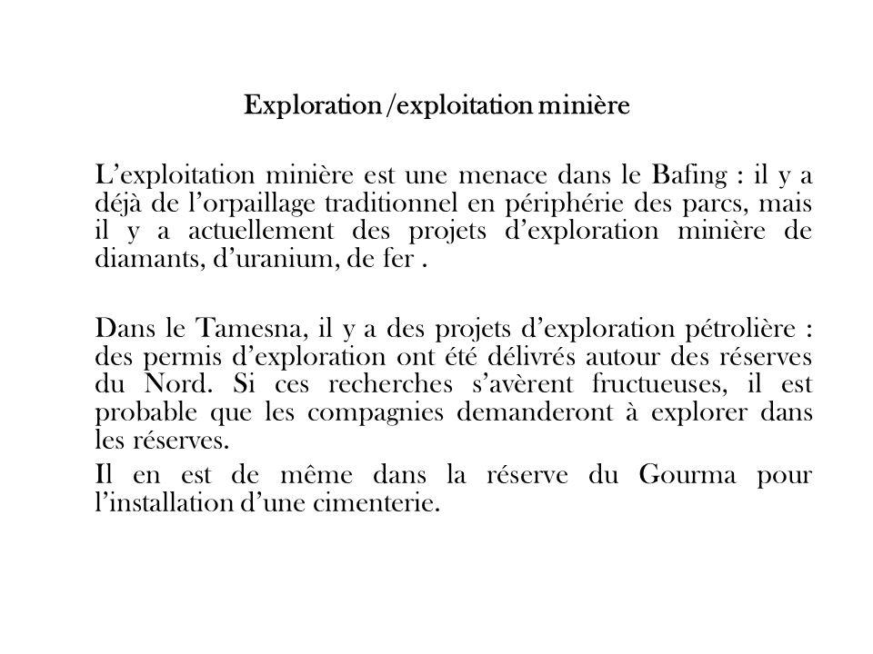 Exploration /exploitation minière Lexploitation minière est une menace dans le Bafing : il y a déjà de lorpaillage traditionnel en périphérie des parc