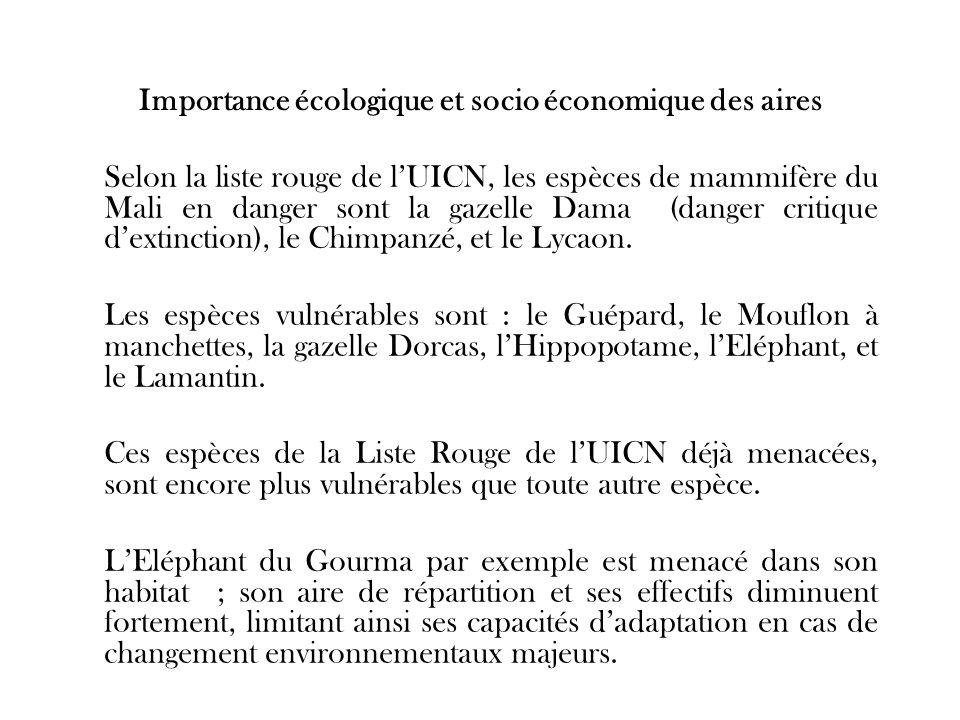 Importance écologique et socio économique des aires Selon la liste rouge de lUICN, les espèces de mammifère du Mali en danger sont la gazelle Dama (da