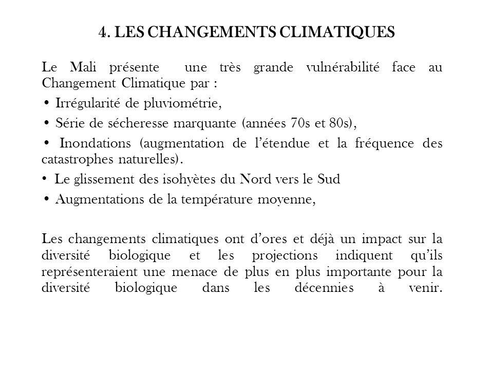 4. LES CHANGEMENTS CLIMATIQUES Le Mali présente une très grande vulnérabilité face au Changement Climatique par : Irrégularité de pluviométrie, Série