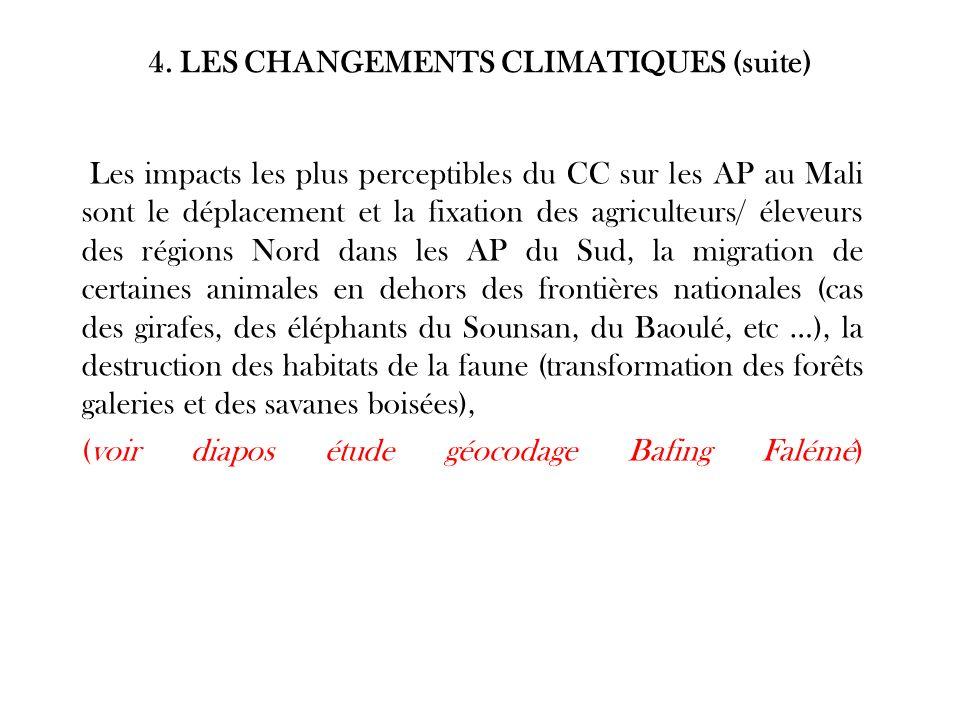 4. LES CHANGEMENTS CLIMATIQUES (suite) Les impacts les plus perceptibles du CC sur les AP au Mali sont le déplacement et la fixation des agriculteurs/