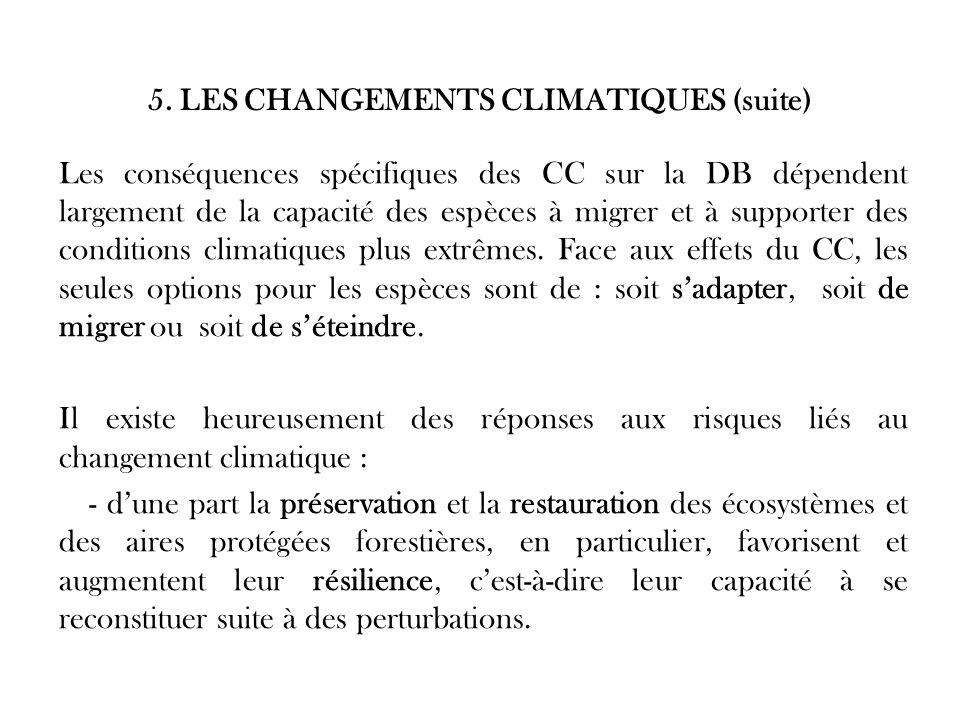 5. LES CHANGEMENTS CLIMATIQUES (suite) Les conséquences spécifiques des CC sur la DB dépendent largement de la capacité des espèces à migrer et à supp