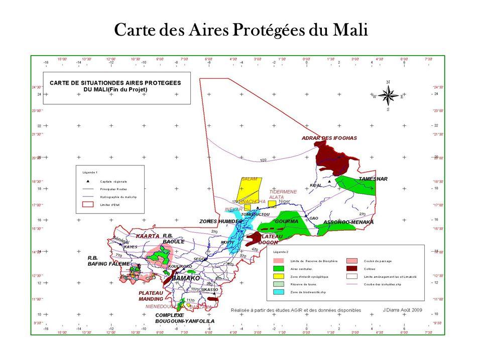 Carte des Aires Protégées du Mali