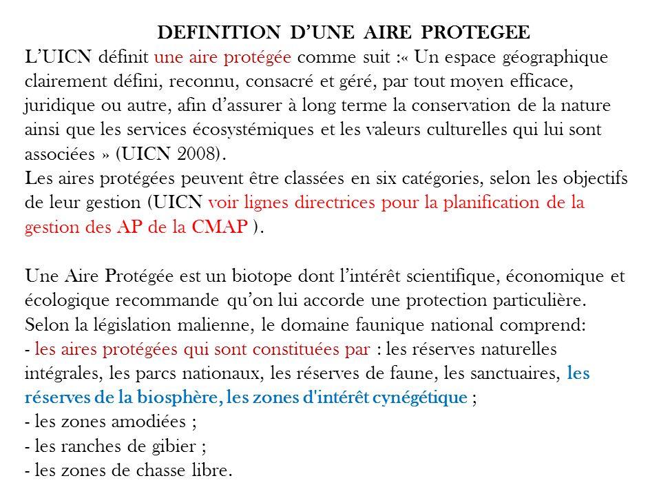 DEFINITION DUNE AIRE PROTEGEE LUICN définit une aire protégée comme suit :« Un espace géographique clairement défini, reconnu, consacré et géré, par t
