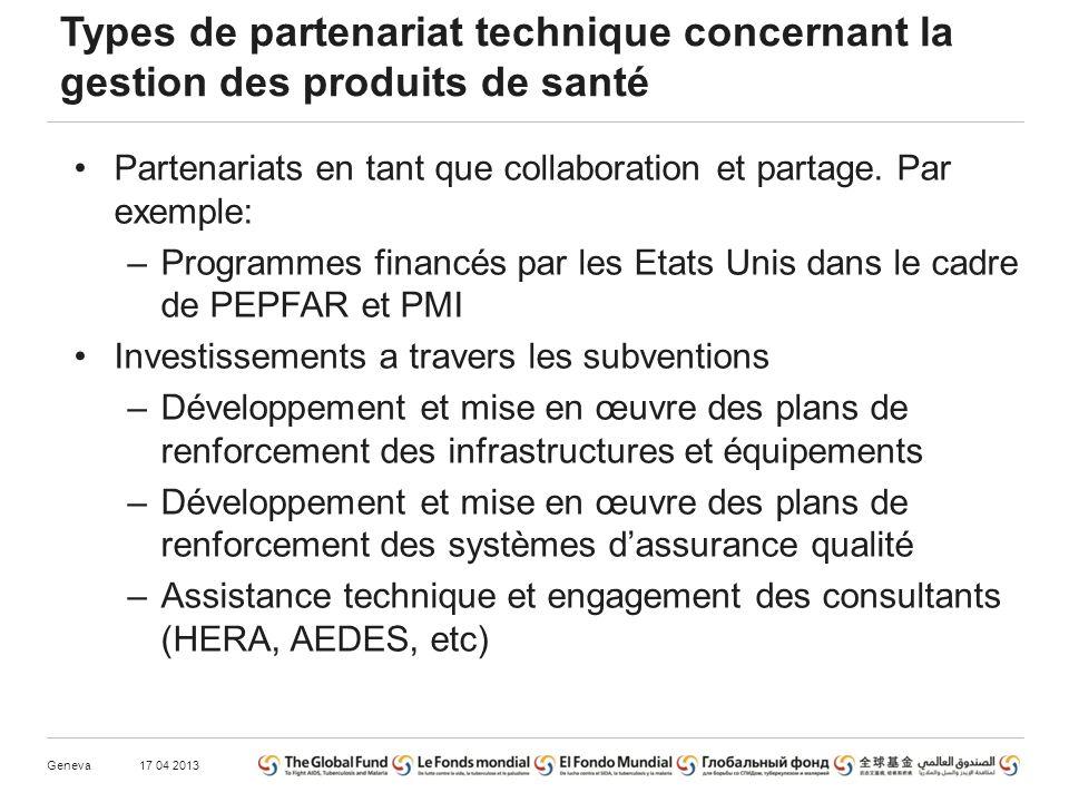 Types de partenariat technique concernant la gestion des produits de santé Partenariats en tant que collaboration et partage.