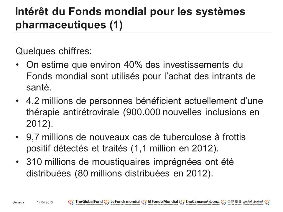 Intérêt du Fonds mondial pour les systèmes pharmaceutiques (1) Quelques chiffres: On estime que environ 40% des investissements du Fonds mondial sont utilisés pour lachat des intrants de santé.