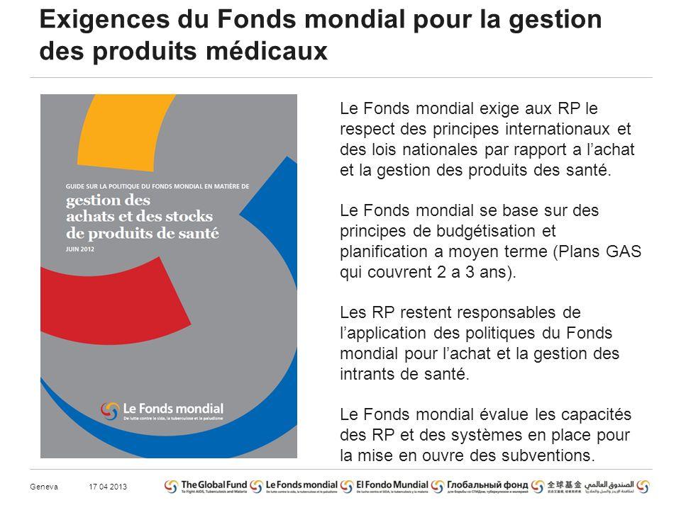 Exigences du Fonds mondial pour la gestion des produits médicaux 17 04 2013Geneva Le Fonds mondial exige aux RP le respect des principes internationaux et des lois nationales par rapport a lachat et la gestion des produits des santé.