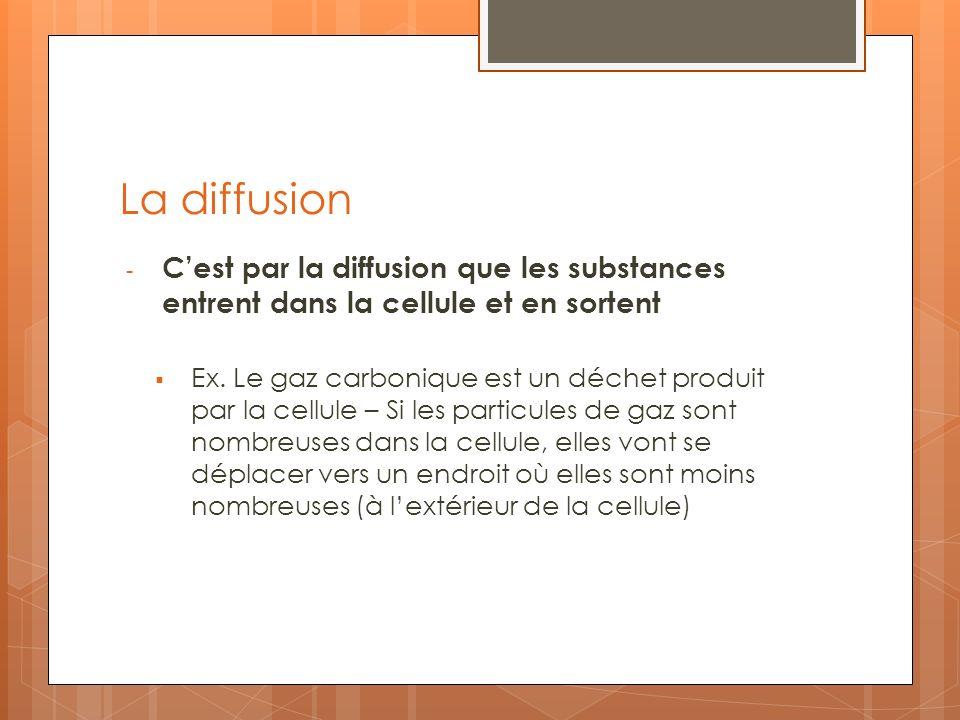La diffusion - Cest par la diffusion que les substances entrent dans la cellule et en sortent Ex. Le gaz carbonique est un déchet produit par la cellu