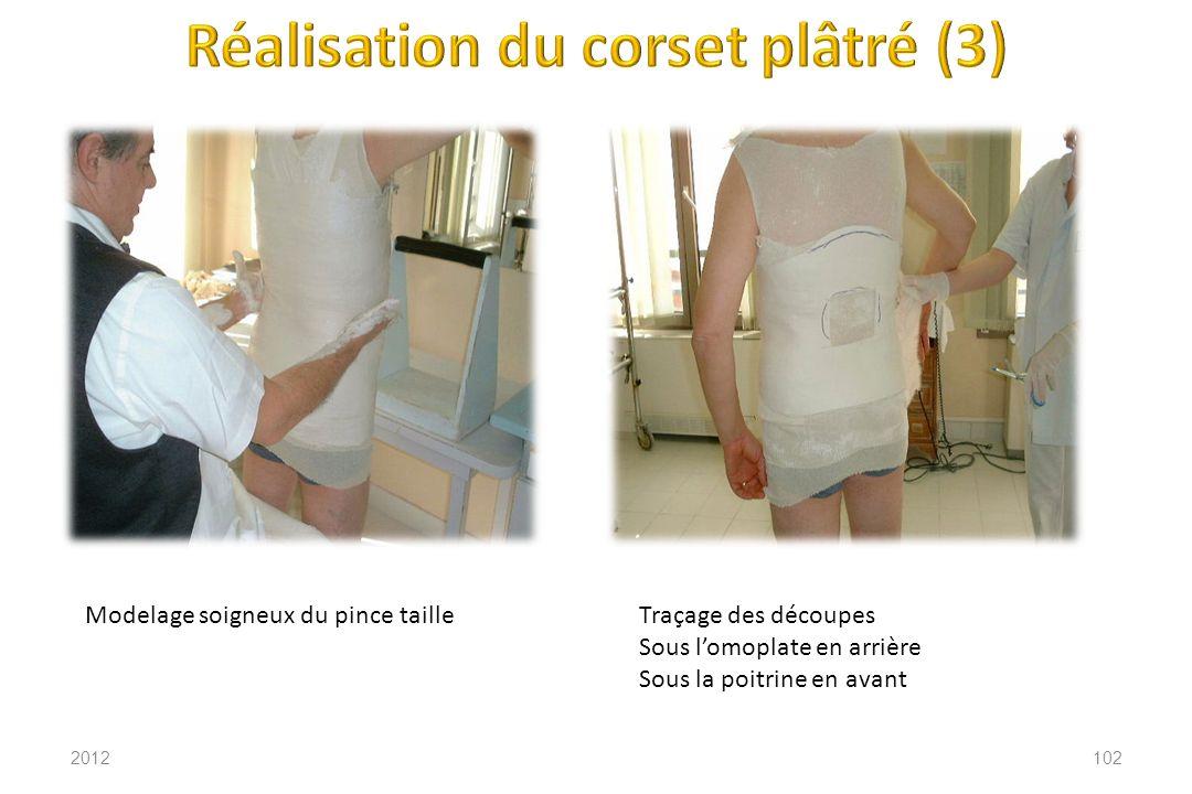 2012102 Modelage soigneux du pince tailleTraçage des découpes Sous lomoplate en arrière Sous la poitrine en avant