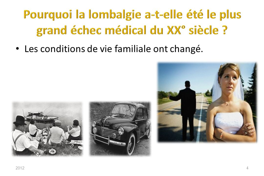 Lombalgie maladie (10 %) Canal lombaire étroit 201215