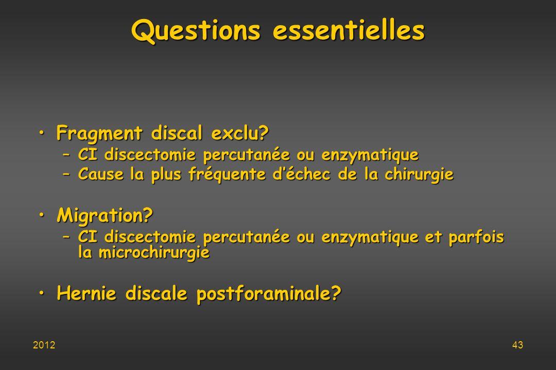 Questions essentielles Fragment discal exclu?Fragment discal exclu? –CI discectomie percutanée ou enzymatique –Cause la plus fréquente déchec de la ch