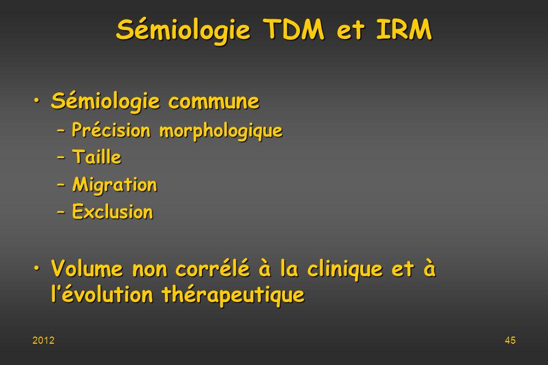 Sémiologie TDM et IRM Sémiologie communeSémiologie commune –Précision morphologique –Taille –Migration –Exclusion Volume non corrélé à la clinique et