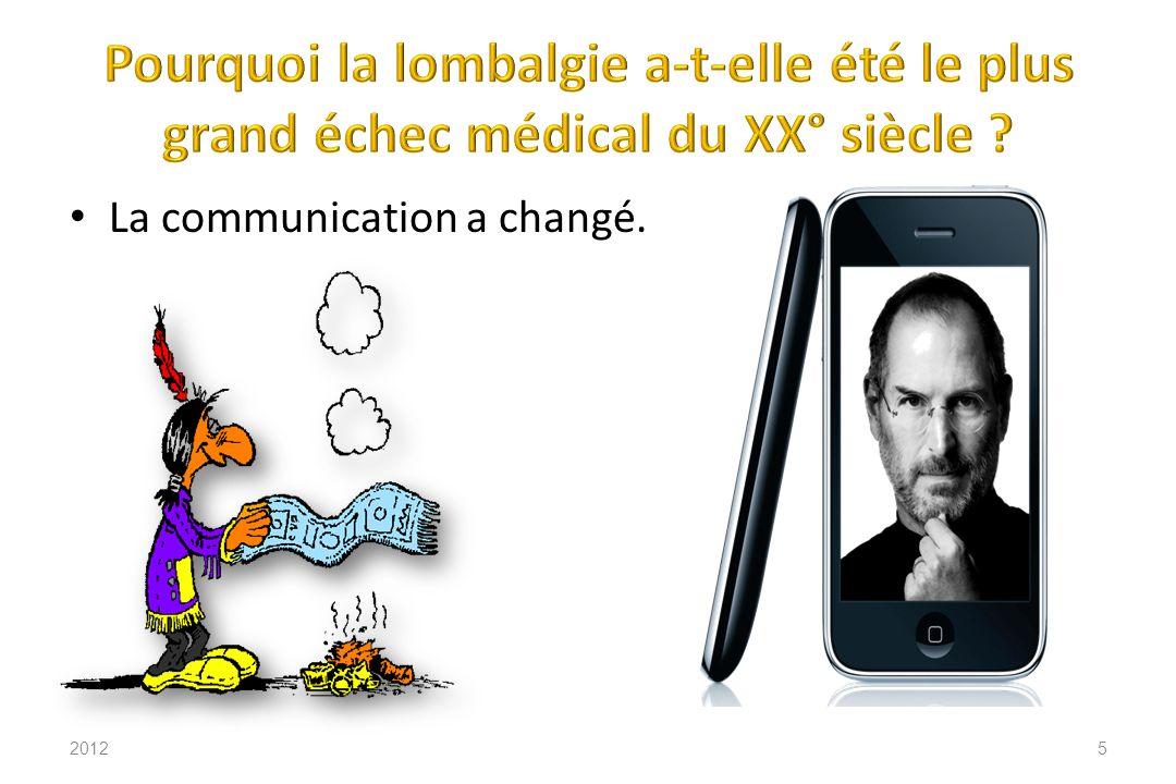 2012116 Il ny a aucune corrélation entre la radiologie et le symptôme lombalgie chronique