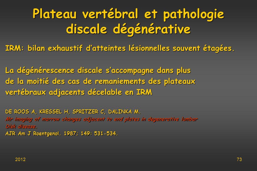 Plateau vertébral et pathologie discale dégénérative IRM: bilan exhaustif datteintes lésionnelles souvent étagées. La dégénérescence discale saccompag