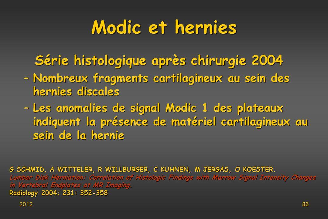 Série histologique après chirurgie 2004 –Nombreux fragments cartilagineux au sein des hernies discales –Les anomalies de signal Modic 1 des plateaux i