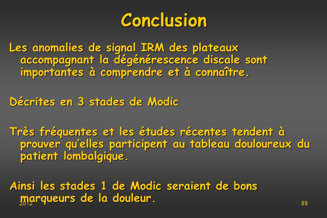 Conclusion Les anomalies de signal IRM des plateaux accompagnant la dégénérescence discale sont importantes à comprendre et à connaître. Décrites en 3