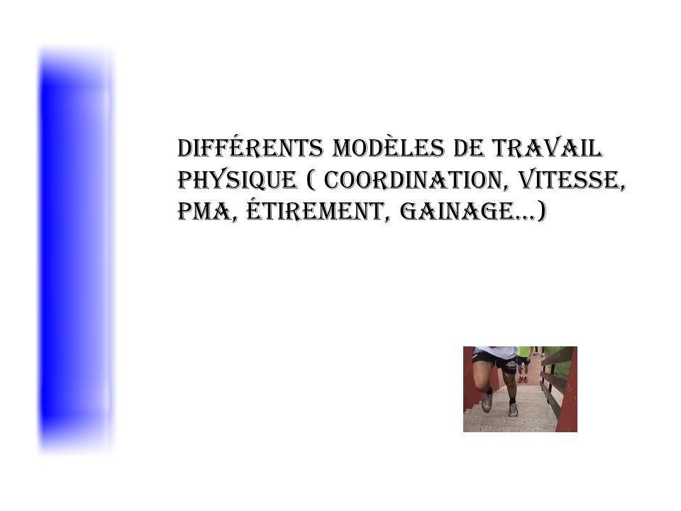 Différents modèles de travail physique ( coordination, vitesse, PMA, étirement, gainage…)