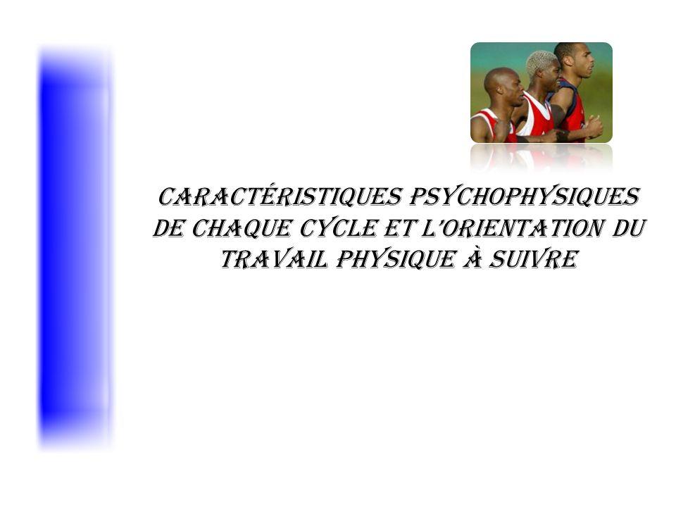 Caractéristiques psychophysiques de chaque cycle et lorientation du travail physique à suivre