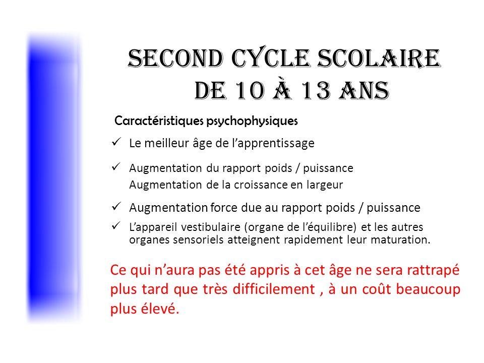 Second cycle scolaire de 10 à 13 ans Caractéristiques psychophysiques Le meilleur âge de lapprentissage Augmentation du rapport poids / puissance Augm