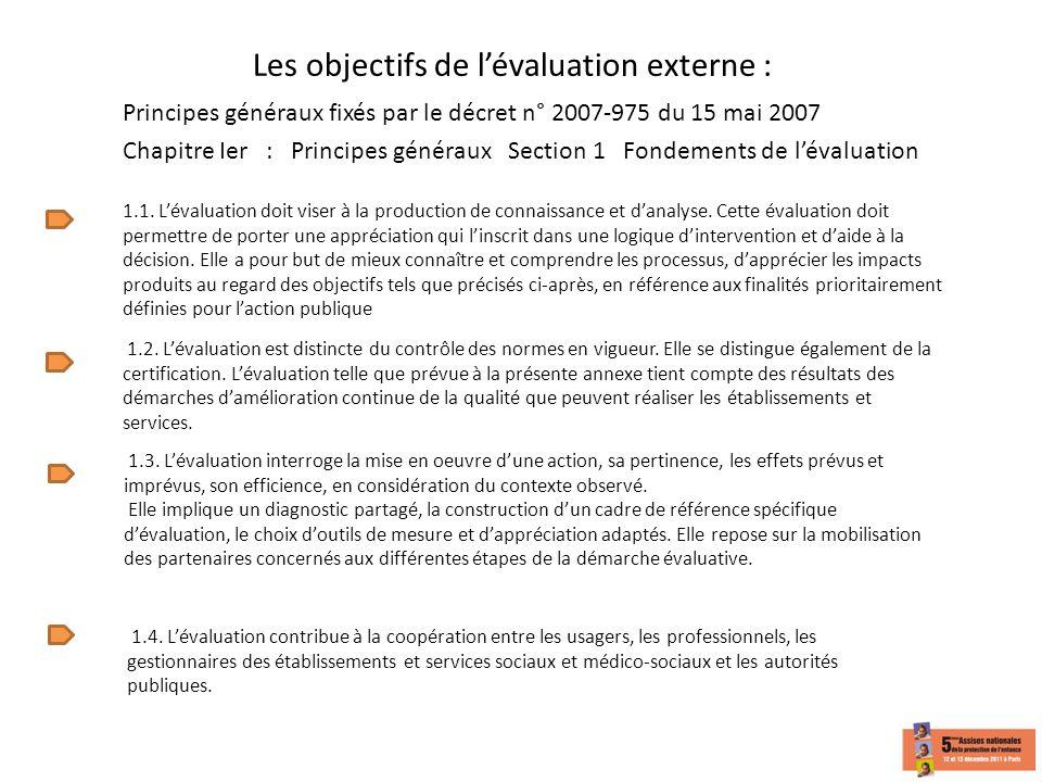 Les objectifs de lévaluation externe : Principes généraux fixés par le décret n° 2007-975 du 15 mai 2007 1.1. Lévaluation doit viser à la production d