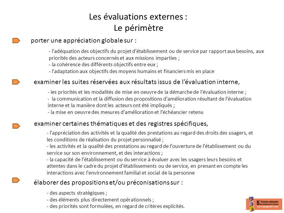 Les évaluations externes : Le périmètre porter une appréciation globale sur : - ladéquation des objectifs du projet détablissement ou de service par r