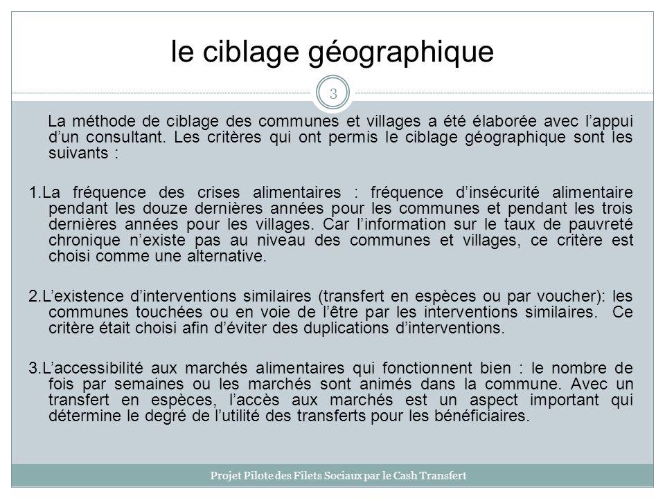 le ciblage géographique La méthode de ciblage des communes et villages a été élaborée avec lappui dun consultant.
