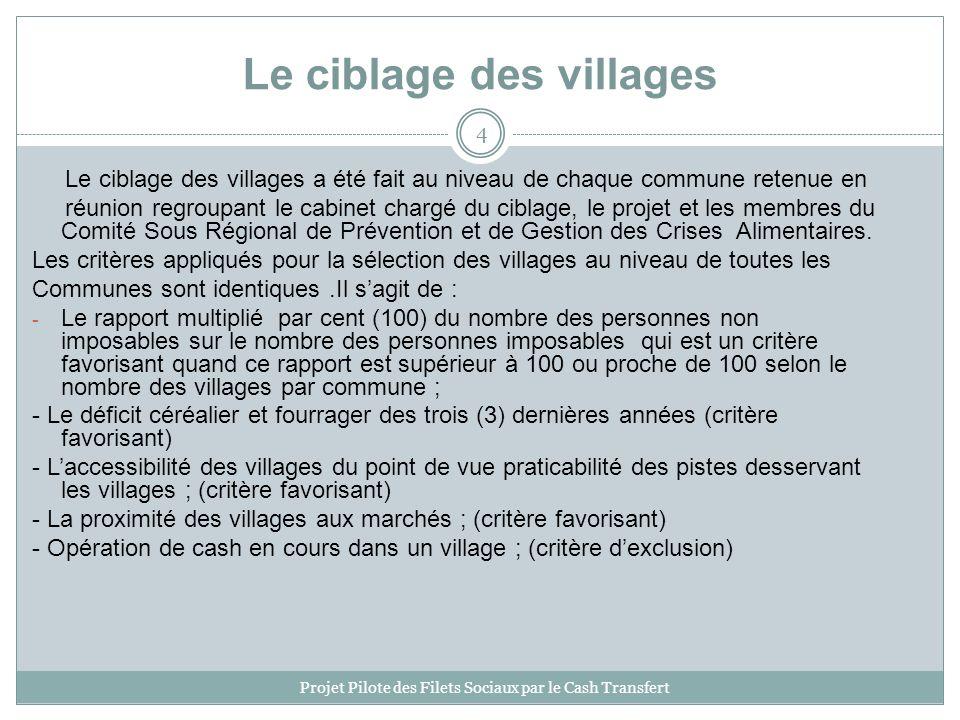 Le ciblage des villages Le ciblage des villages a été fait au niveau de chaque commune retenue en réunion regroupant le cabinet chargé du ciblage, le projet et les membres du Comité Sous Régional de Prévention et de Gestion des Crises Alimentaires.