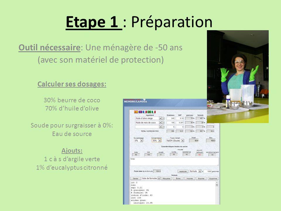 Etape 1 : Préparation Outil nécessaire: Une ménagère de -50 ans (avec son matériel de protection) Calculer ses dosages: 30% beurre de coco 70% dhuile