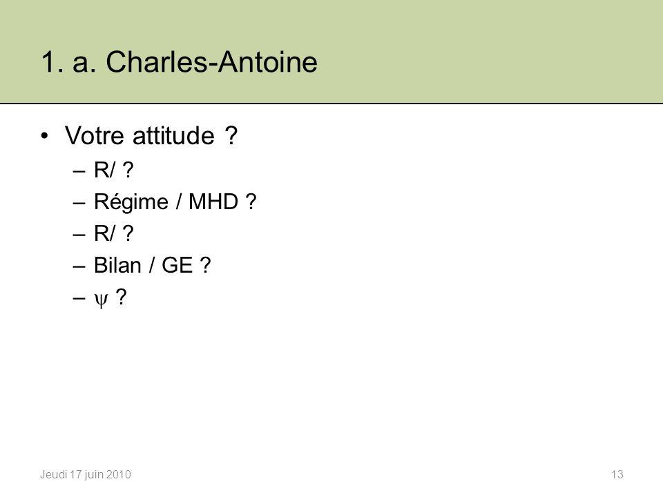 1.a. Charles-Antoine Votre attitude . –R/ . –Régime / MHD .