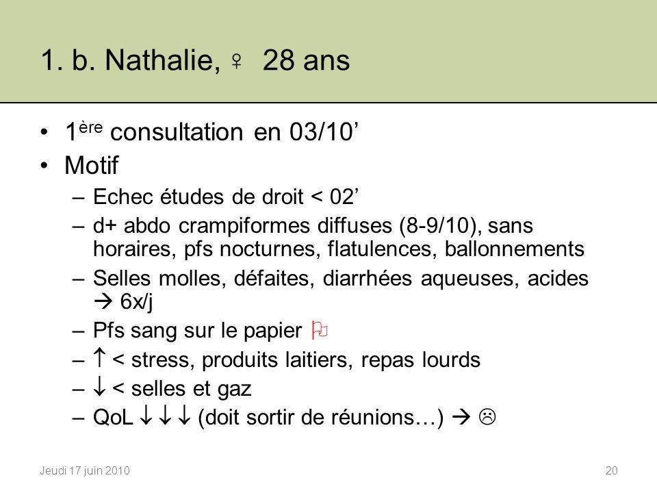 1. b. Nathalie, 28 ans 1 ère consultation en 03/10 Motif –Echec études de droit < 02 –d+ abdo crampiformes diffuses (8-9/10), sans horaires, pfs noctu
