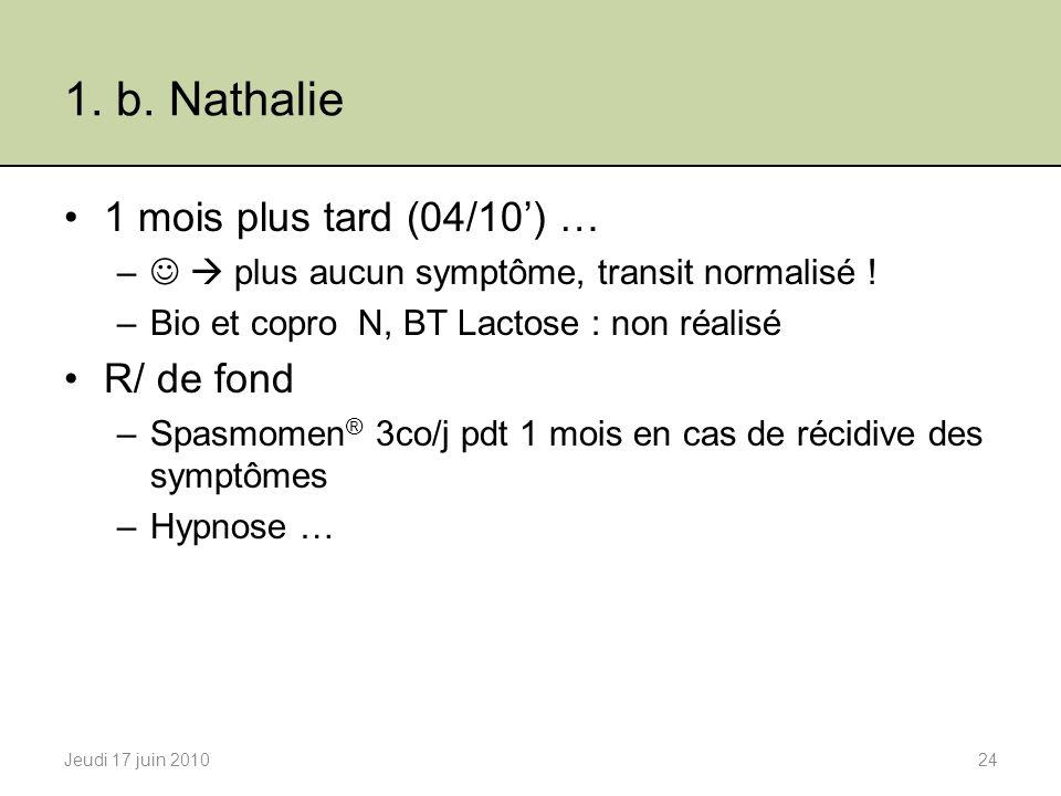 1.b. Nathalie 1 mois plus tard (04/10) … – plus aucun symptôme, transit normalisé .