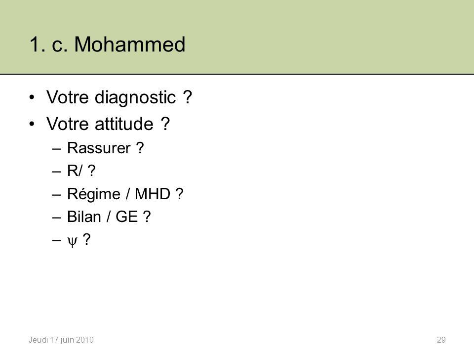 1.c. Mohammed Votre diagnostic . Votre attitude .