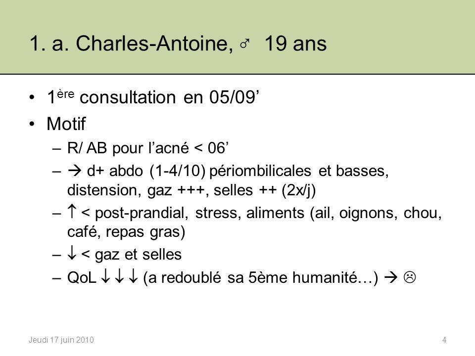 1. a. Charles-Antoine, 19 ans 1 ère consultation en 05/09 Motif –R/ AB pour lacné < 06 – d+ abdo (1-4/10) périombilicales et basses, distension, gaz +