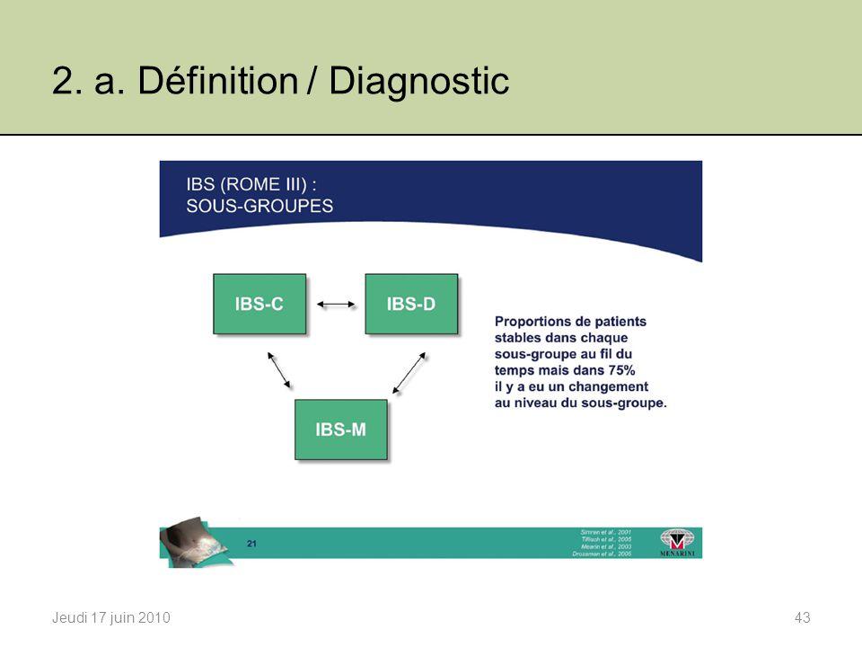 2. a. Définition / Diagnostic Jeudi 17 juin 201043