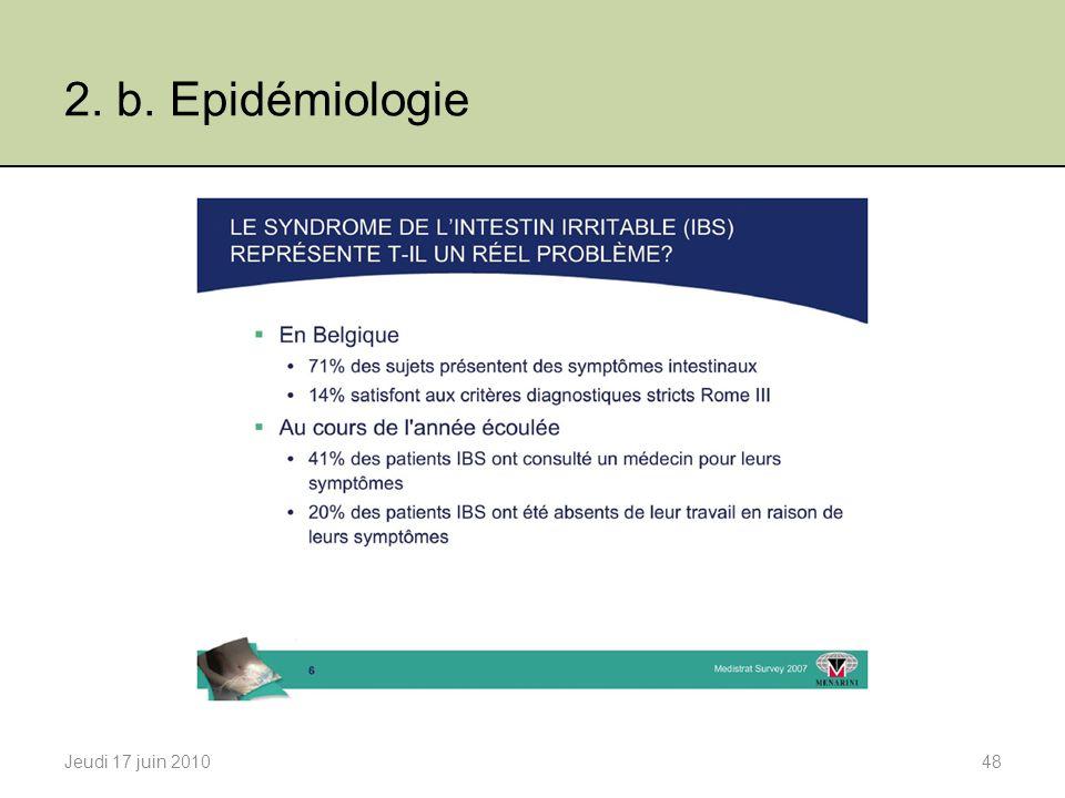 2. b. Epidémiologie Jeudi 17 juin 201048