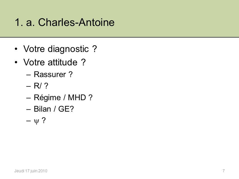 Plan 1.Cas Cliniques a.Charles-Antoine b.Nathalie c.Mohammed 2.Le syndrome de lintestin irritable (SII) a.Définition / Diagnostic b.Epidémiologie c.Physiopathologie d.Traitements 3.Conclusions Jeudi 17 juin 201038