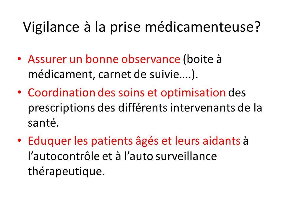 Vigilance à la prise médicamenteuse? Assurer un bonne observance (boite à médicament, carnet de suivie….). Coordination des soins et optimisation des