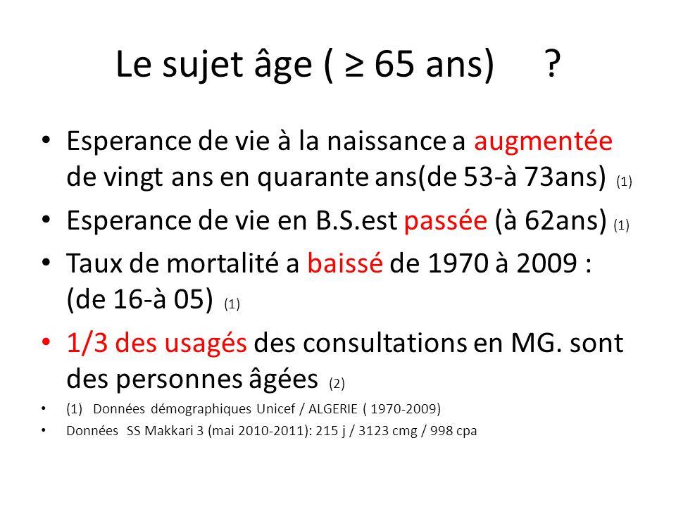 Le sujet âge ( 65 ans) ? Esperance de vie à la naissance a augmentée de vingt ans en quarante ans(de 53-à 73ans) (1) Esperance de vie en B.S.est passé