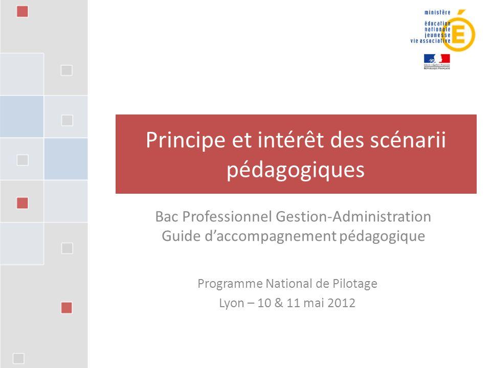 Programme National de Pilotage Lyon – 10 & 11 mai 2012 Principe et intérêt des scénarii pédagogiques Bac Professionnel Gestion-Administration Guide daccompagnement pédagogique
