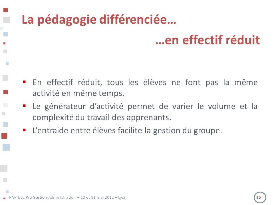 PNP Bac Pro Gestion-Administration – 10 et 11 mai 2012 – Lyon 15 En effectif réduit, tous les élèves ne font pas la même activité en même temps.