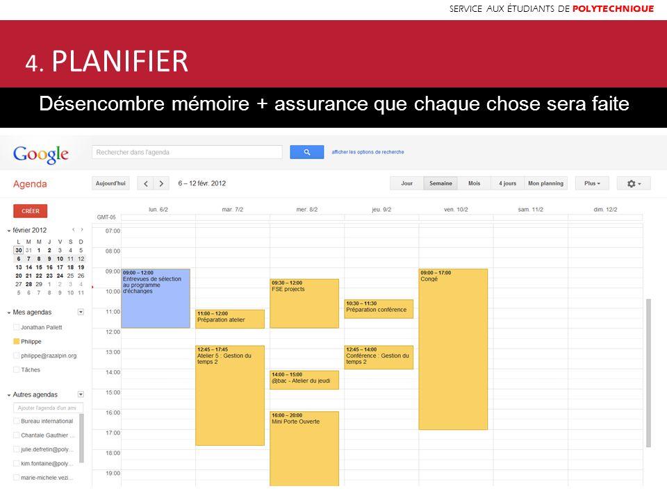 SERVICE AUX ÉTUDIANTS DE POLYTECHNIQUE 4. PLANIFIER Désencombre mémoire + assurance que chaque chose sera faite