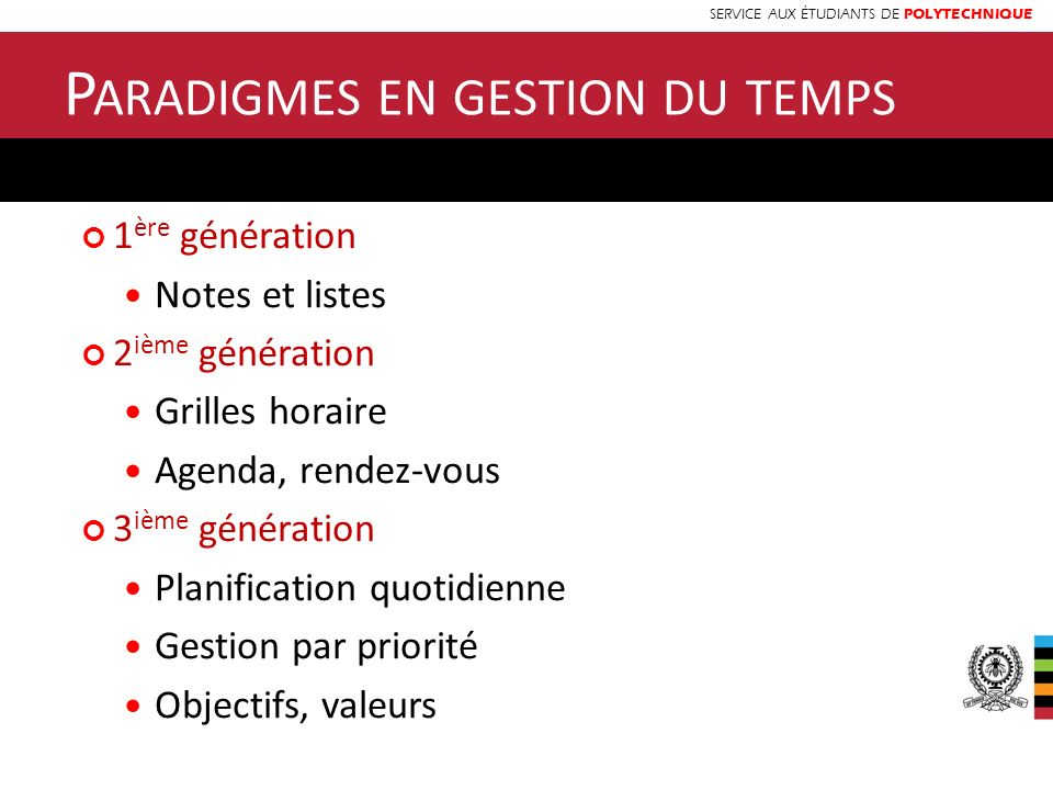 SERVICE AUX ÉTUDIANTS DE POLYTECHNIQUE 1 ère génération Notes et listes 2 ième génération Grilles horaire Agenda, rendez-vous 3 ième génération Planif