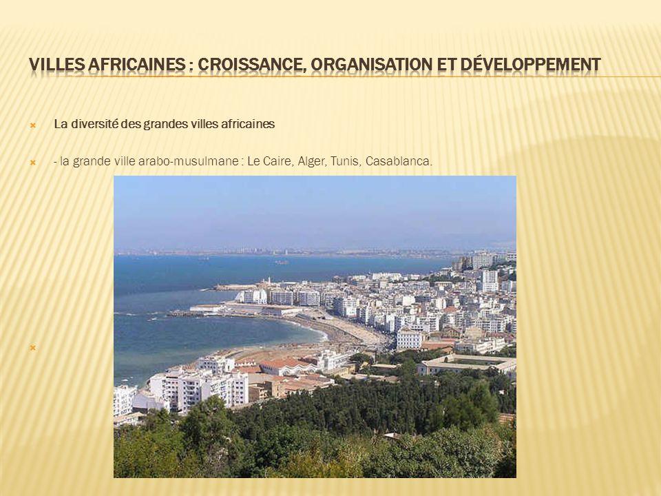 La diversité des grandes villes africaines - la grande ville arabo-musulmane : Le Caire, Alger, Tunis, Casablanca.