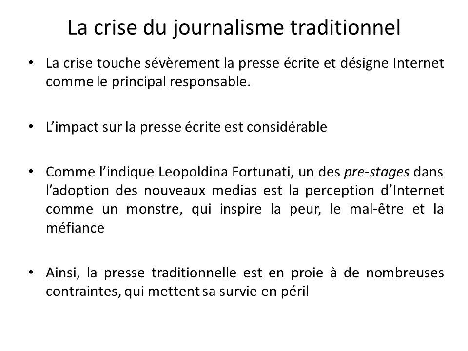 La crise du journalisme traditionnel La crise touche sévèrement la presse écrite et désigne Internet comme le principal responsable. Limpact sur la pr