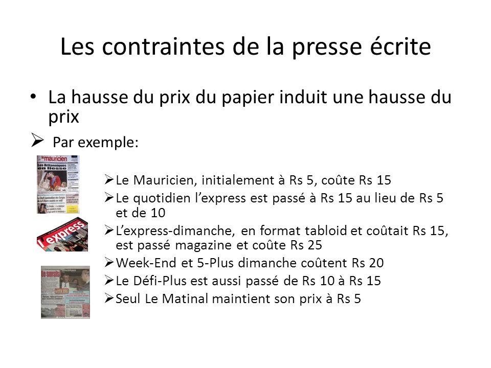 Les contraintes de la presse écrite La hausse du prix du papier induit une hausse du prix Par exemple: Le Mauricien, initialement à Rs 5, coûte Rs 15