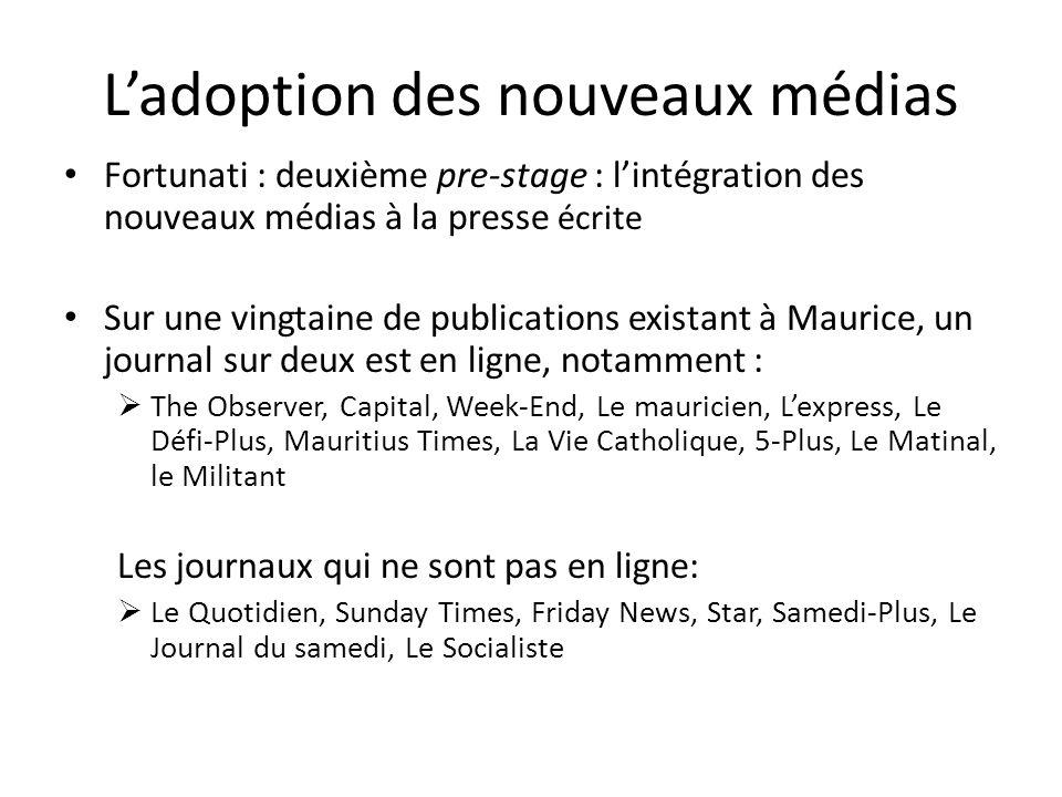 Ladoption des nouveaux médias Fortunati : deuxième pre-stage : lintégration des nouveaux médias à la presse écrite Sur une vingtaine de publications e